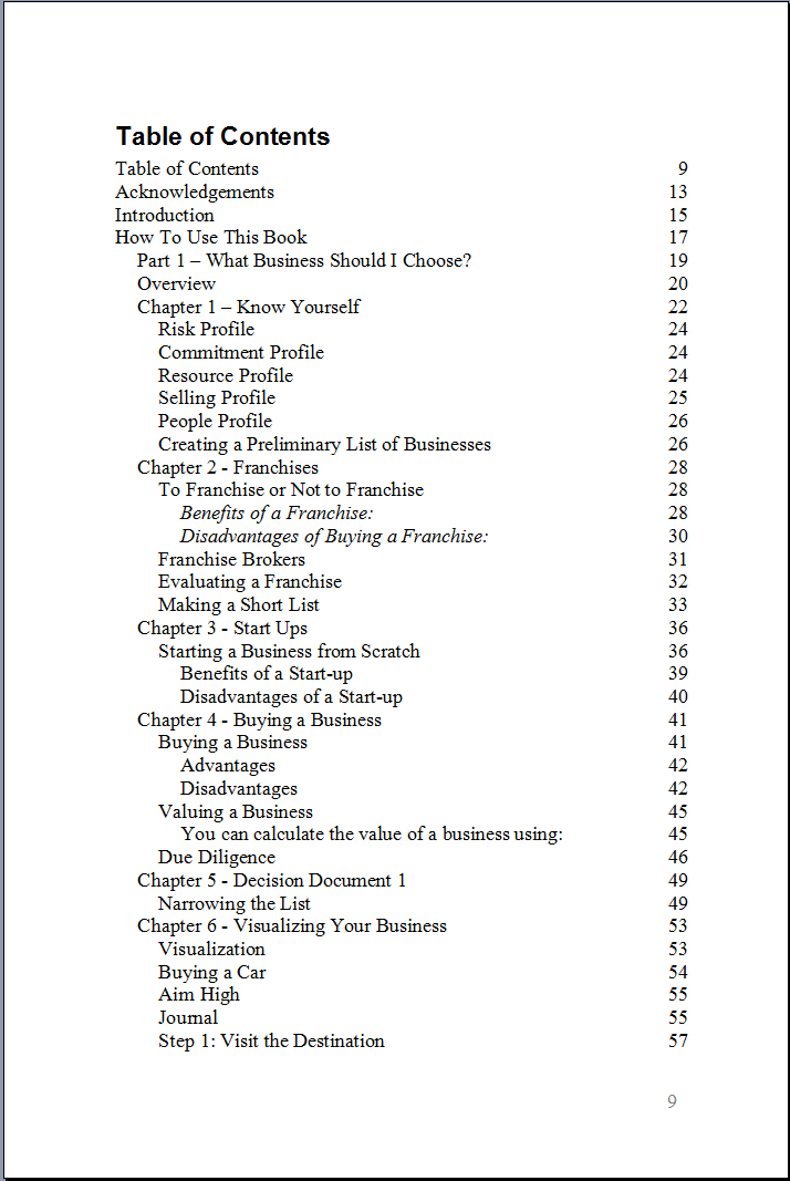 Marketing Plan – Table of Contents